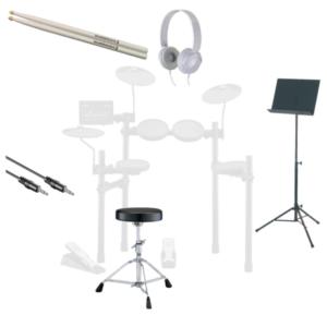 Starterspakket Online Drumles met drumstokken, drumkruk, AUX-kabel, koptelefoon en lessenaar of tablethouder